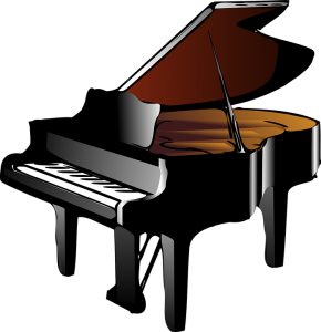 black piano on white background