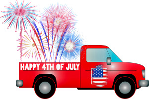 a red truck with the fireworks