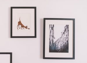 Two pictures on a wall.