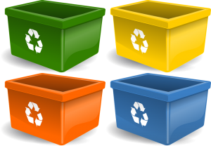 four plastic bins ideal for handling junk removal