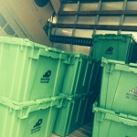 Plastic moving containers or cardboard boxes