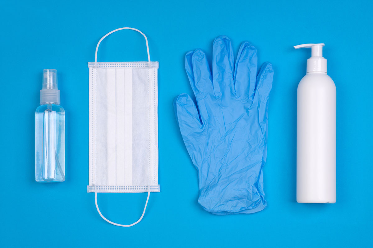 Hand Sanitizer, Surgical Mask and Latex Gloves