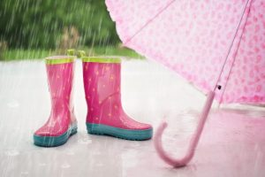 Pink rain boots and an umbrella for when you move house on a rainy or snowy day.