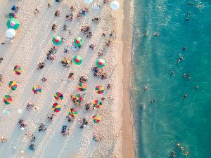 Aerial view of a beach in Miami