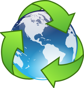 green recycling sign around the earth model