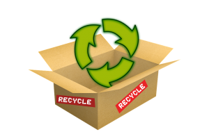 An open cardboard box with a recycling sign above - the benefit when you buy used moving boxee.