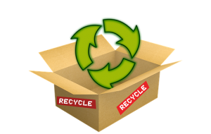a cardboard box with a recycling symbol above as an indication for an eco-friendly relocation