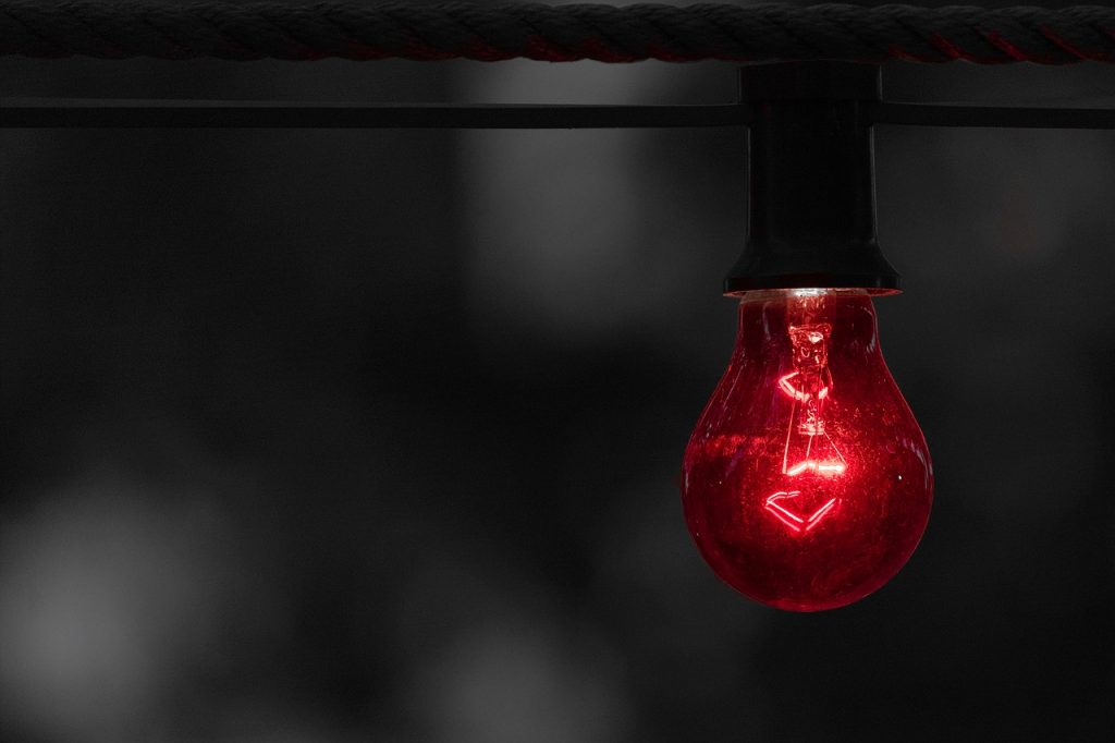 Light-bulb glowing red