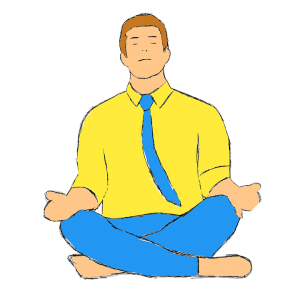 a man in a yellow shirt meditating before moving with a toddler
