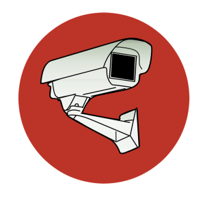 a surveillance camera in a red circle
