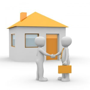 two 3D model persons shaking hands in front of a house with a yellow roof