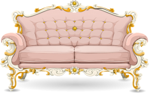 a pink designer sofa awaiting to be picked up by furniture disposal NYC professionals