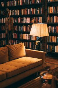 sofa and a large bookcase