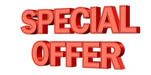 red special offer sign indication good deal during black Friday moving