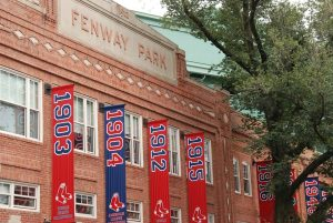 Red Sox flag on the Fenway Park