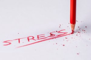 a word stress written with a red crayon