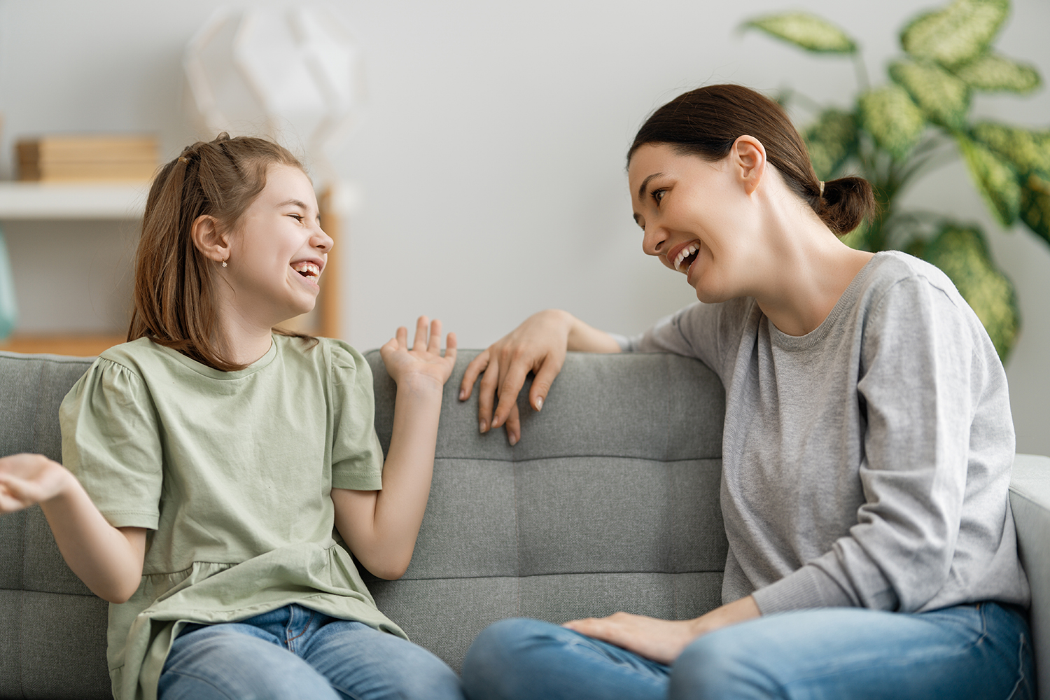 Mom and Daughter Talking and Laugh