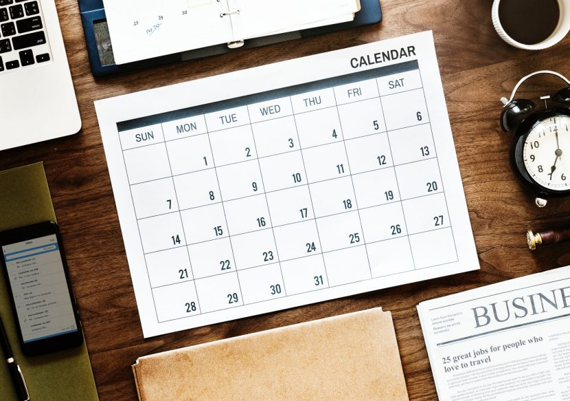 a calendar on the table