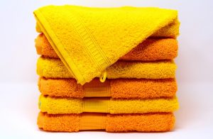 A stack of yellow towels.