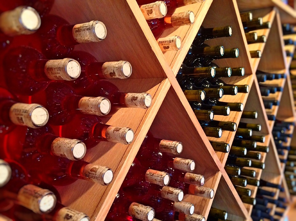 wine bottles in storage