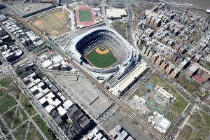 A bird's eye view of the Yankee stadium in the Bronx